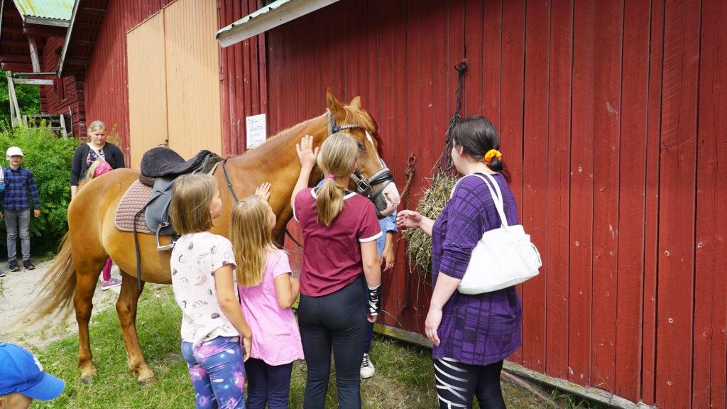 Lapsille oli tarjolla myös ohjattua ratsastusta ponin selässä.